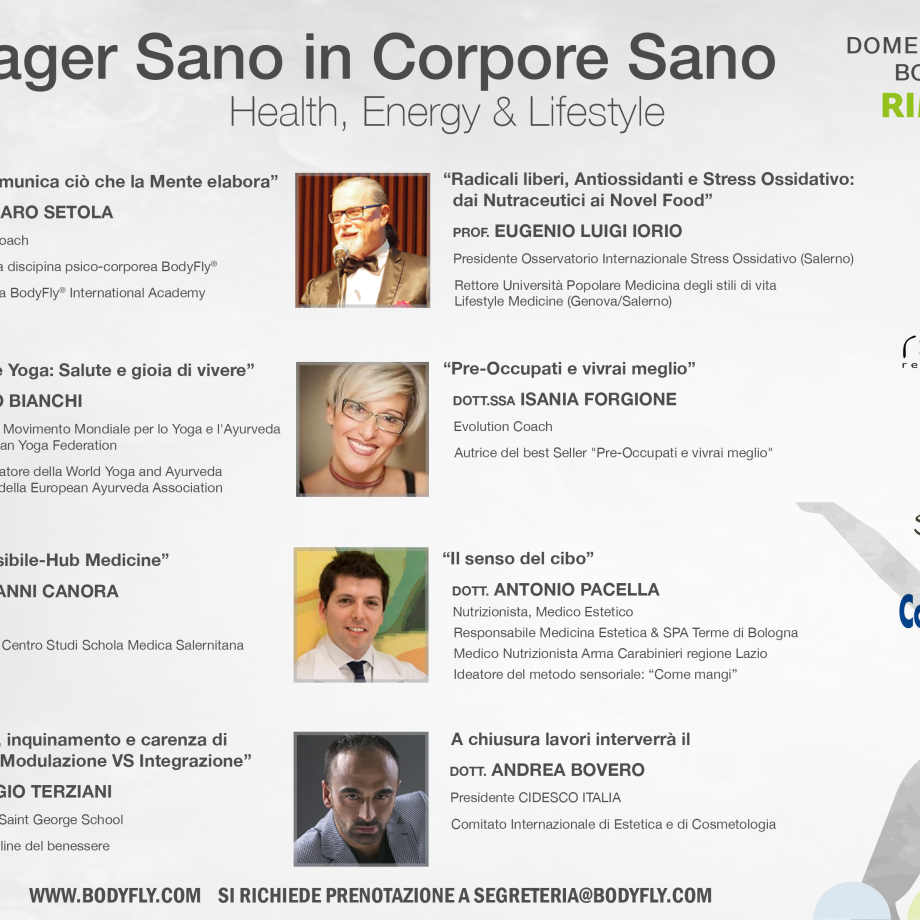 "(Italiano) CONGRESSO ""MANAGER SANO IN CORPORE SANO"" – BODYFLY ZONE PAD. D1 RIMINI WELLNESS"